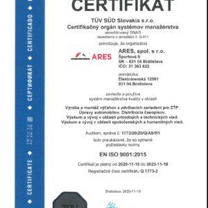 Certifikát STN EN ISO 9001